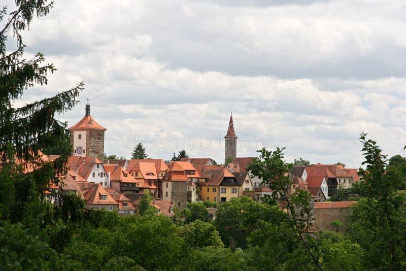 Paisaje urbano de Rothenburg imagenes de archivo