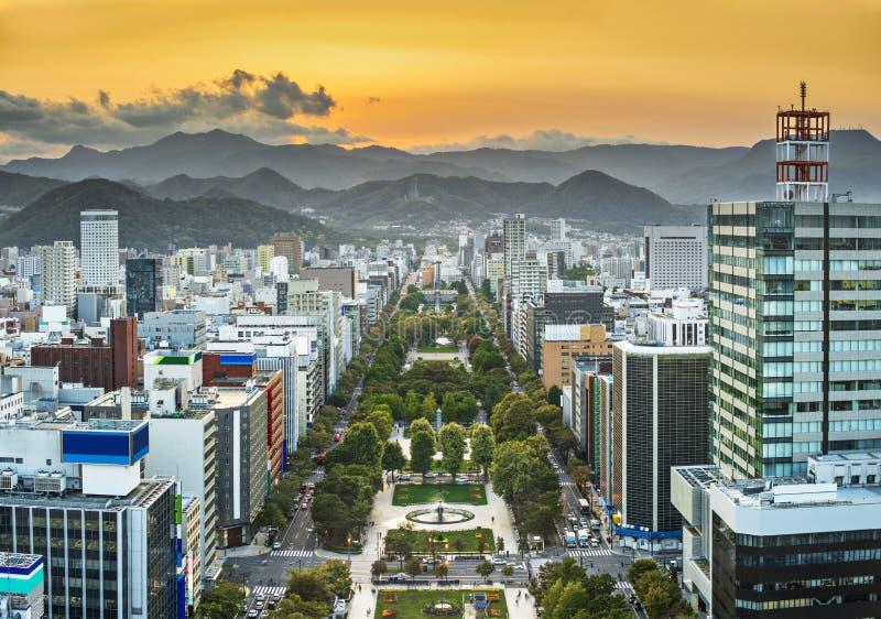 Paisaje urbano de Sapporo imagenes de archivo