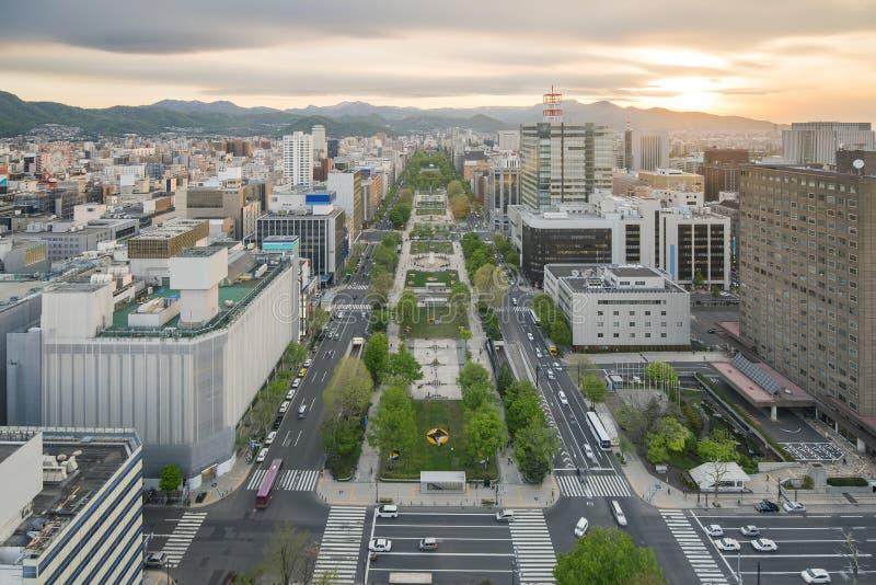 Paisaje urbano de Sapporo en el parque del odori, Hokkaido, Japón imagen de archivo