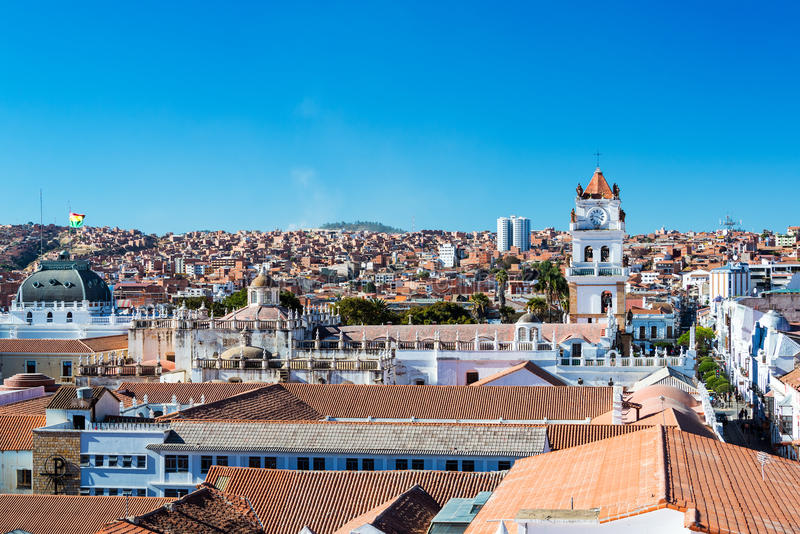 Paisaje urbano de Sucre, Bolivia foto de archivo