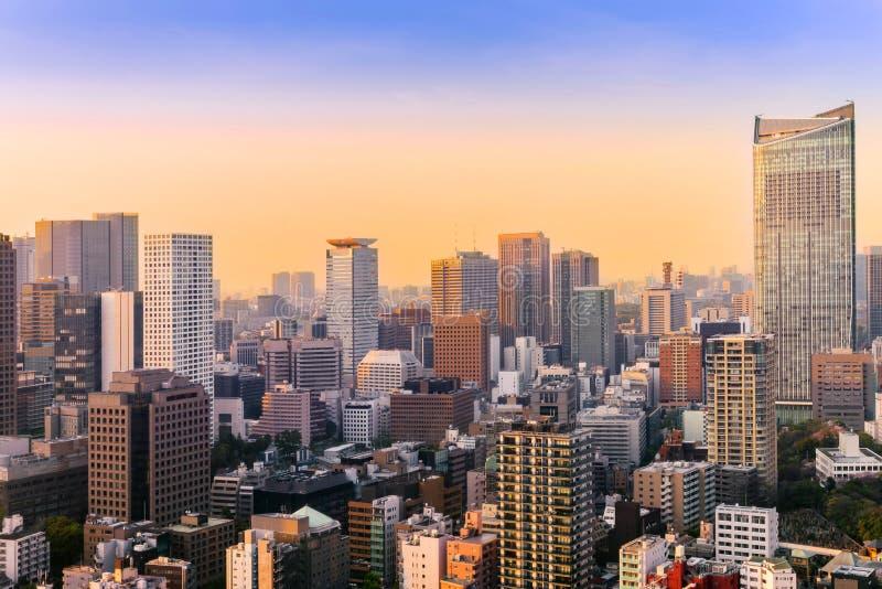 Paisaje urbano de Tokio, opinión aérea del rascacielos de la ciudad del buildi de la oficina fotografía de archivo libre de regalías