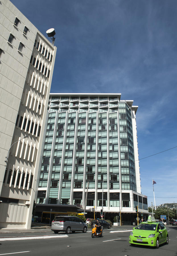 Paisaje urbano de Wellington, capital de Nueva Zelanda, situado en la isla del norte fotos de archivo