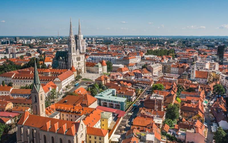 Paisaje urbano de Zagreb la capital de Croacia foto de archivo libre de regalías