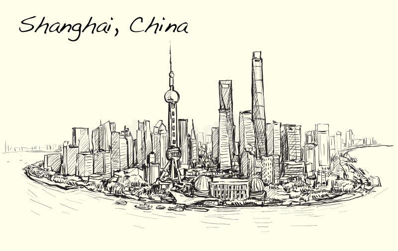 Paisaje urbano del bosquejo del ejemplo del drenaje de la carta blanca del horizonte de Shangai libre illustration