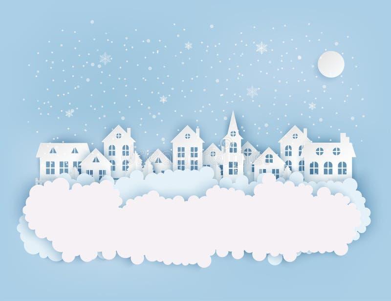 Paisaje urbano del campo del invierno, pueblo con las casas de papel lindas ilustración del vector