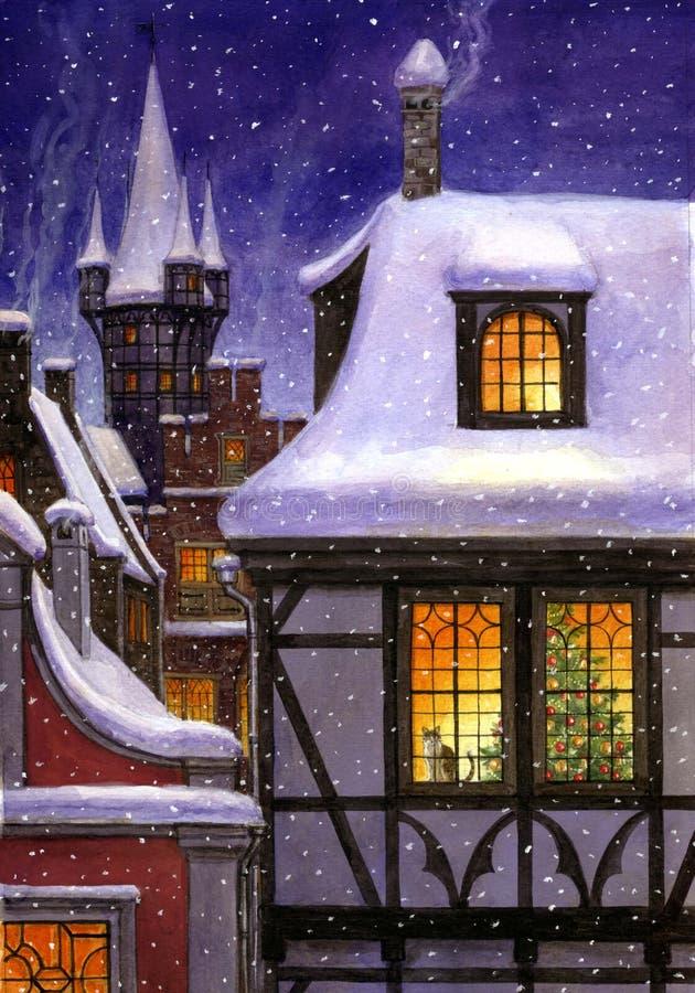 Paisaje urbano del cuento de hadas del invierno stock de ilustración