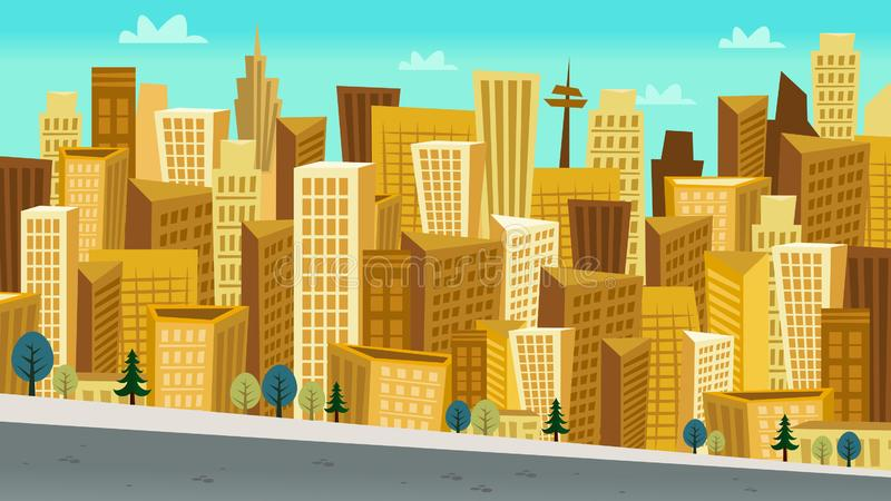 Paisaje urbano del día del estilo de la historieta con los rascacielos Kooky ilustración del vector