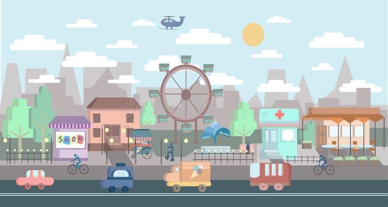 Paisaje urbano del diseño plano Ejemplo de la ciudad del vector libre illustration