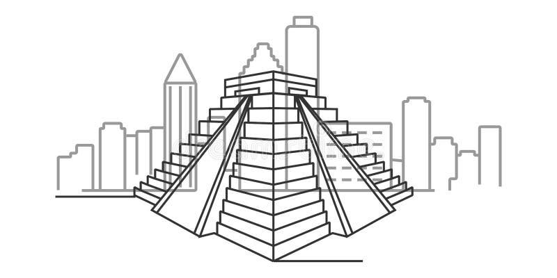 paisaje urbano del ejemplo del esquema de Teotihuacan libre illustration
