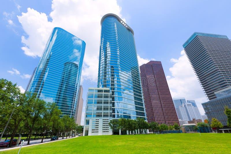 Paisaje urbano del horizonte de Houston en Tejas los E.E.U.U. imagenes de archivo