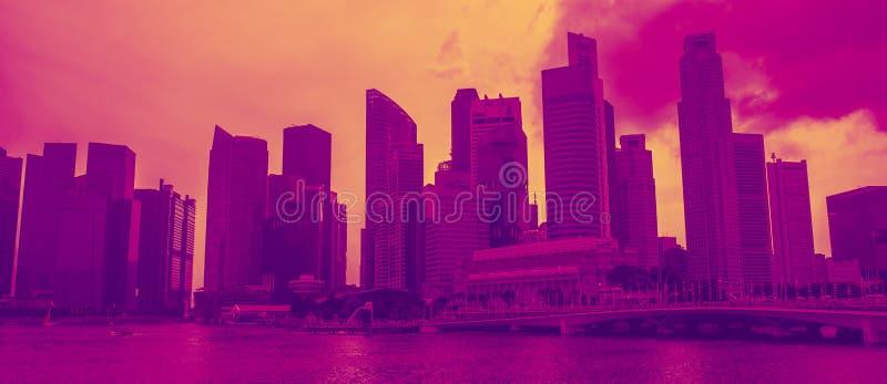 Paisaje urbano del horizonte de Singapur Distrito financiero Sityscape foto de archivo