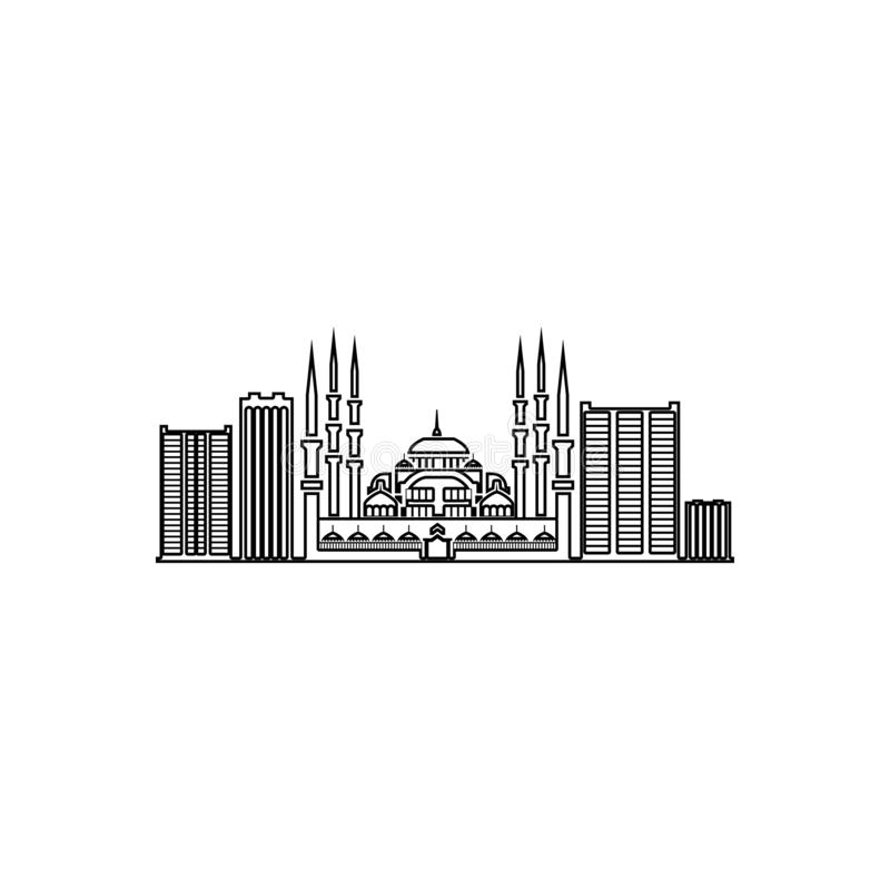 paisaje urbano del icono de Stambula Elemento del paisaje urbano para el concepto y el icono m?viles de los apps de la web Esquem stock de ilustración