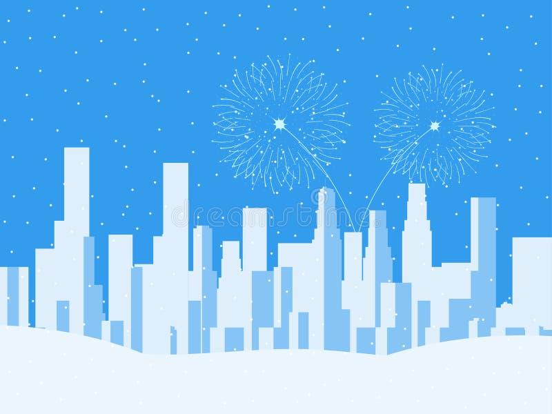 Paisaje urbano del invierno, ciudad urbana con los rascacielos Nieve que cae Fuegos artificiales festivos por el Año Nuevo Vector stock de ilustración