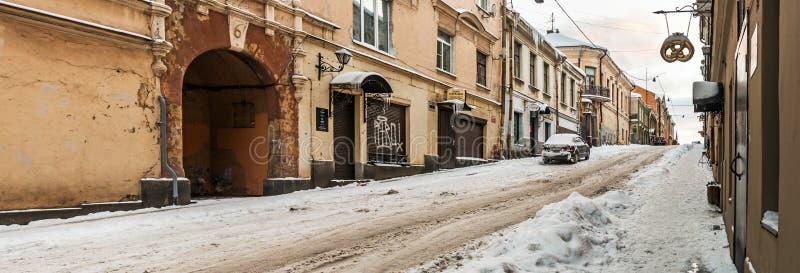 Paisaje urbano del invierno de la ciudad vieja de Vyborg imágenes de archivo libres de regalías