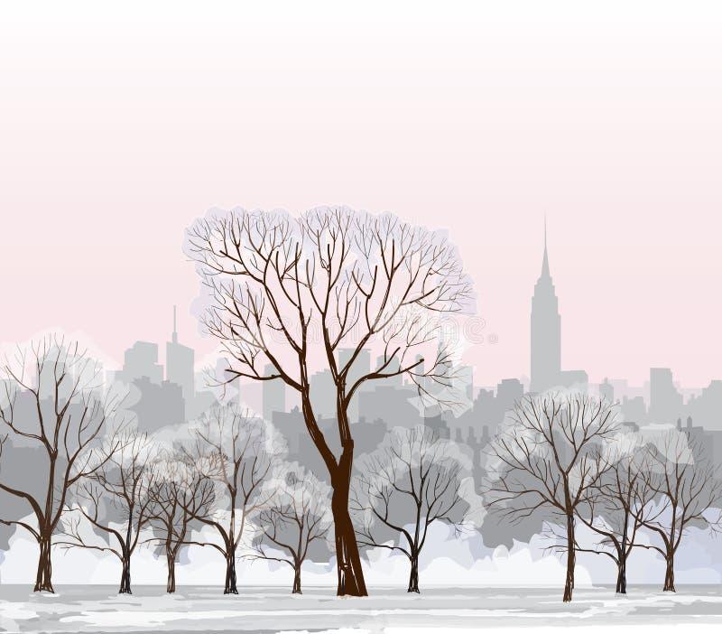 Paisaje urbano del invierno de la Navidad Nieve Central Park ilustración del vector