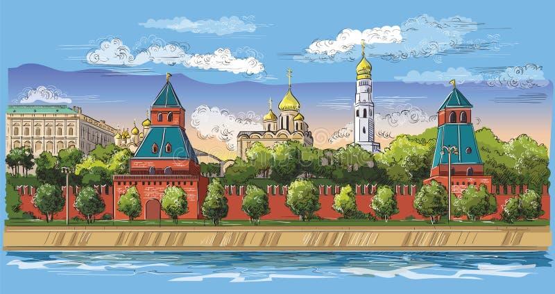 Paisaje urbano del terraplén de la Plaza Roja de las torres del Kremlin y del río de Moscú, dibujo aislado colorido de la mano de ilustración del vector