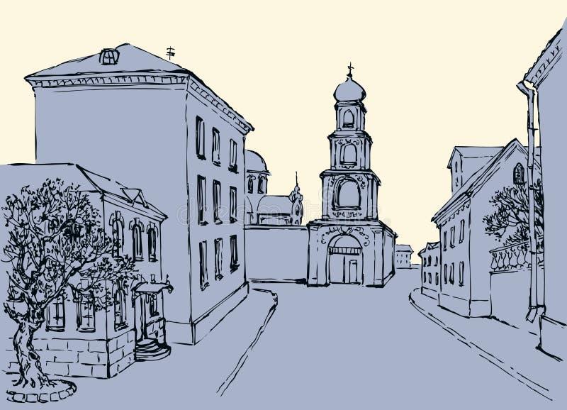 Paisaje urbano del vector Complejo arquitectónico de la ciudad vieja stock de ilustración