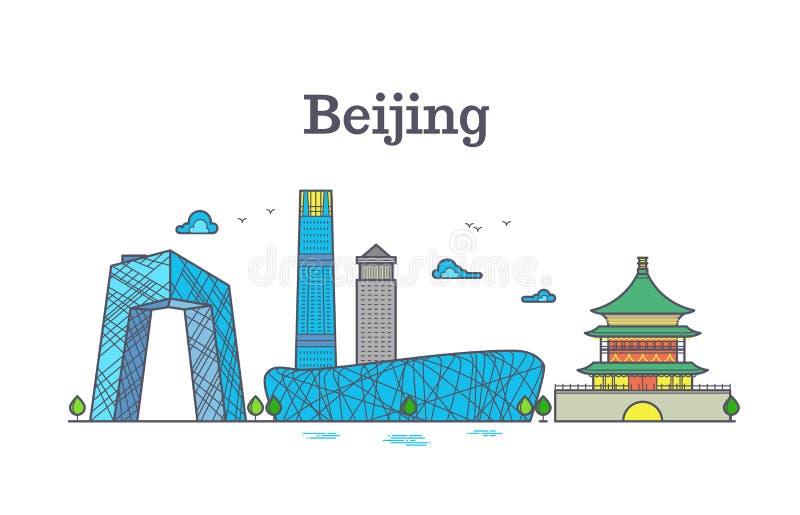 Paisaje urbano del vector de las señales de la ciudad de Pekín de China ilustración del vector