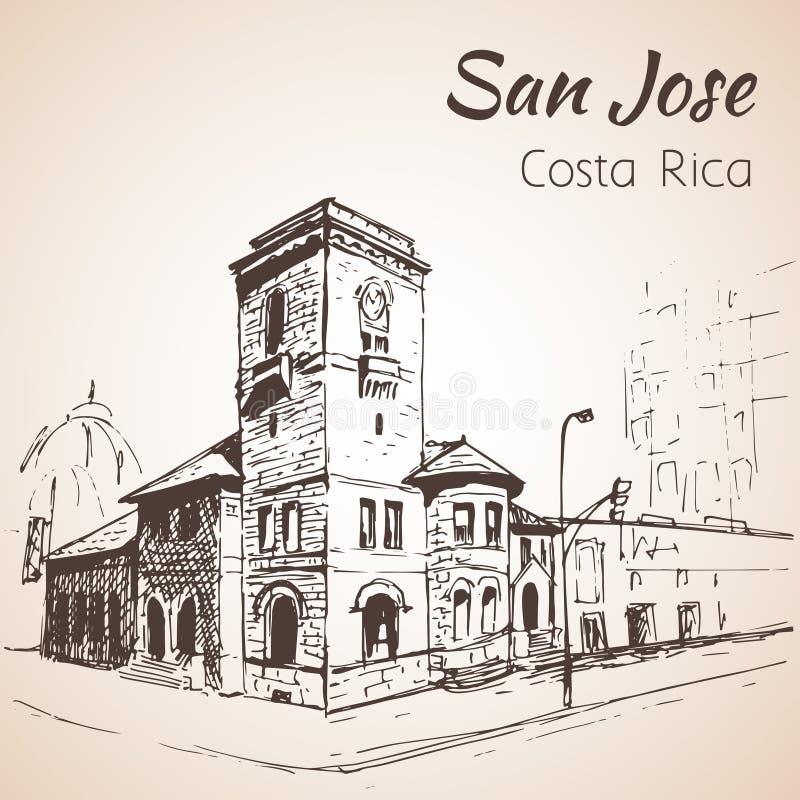 Paisaje urbano dibujado mano céntrica de San Jose Costa Rica bosquejo stock de ilustración