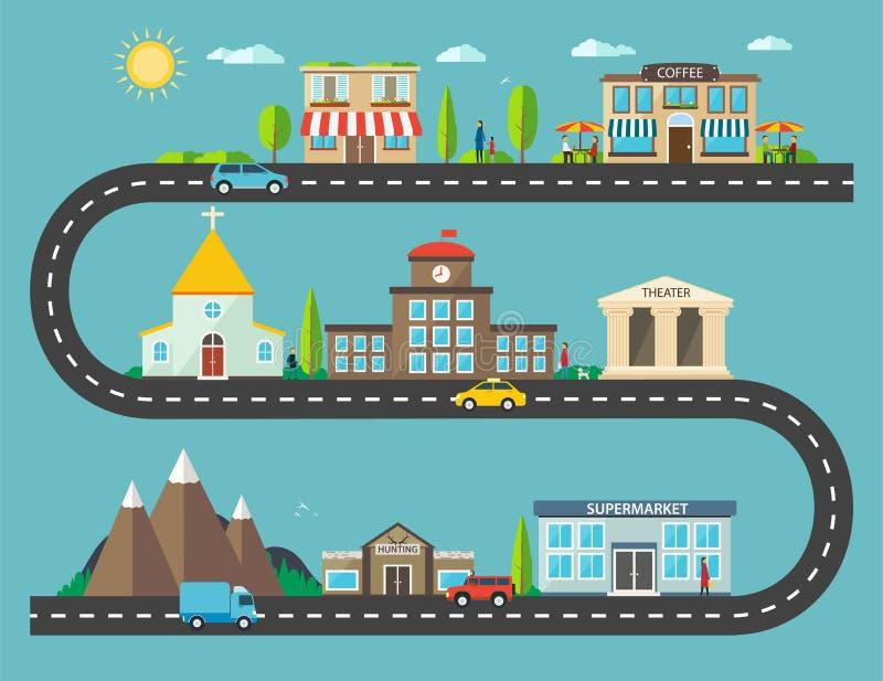 Paisaje urbano en diseño plano Vida de ciudad con los iconos modernos de u stock de ilustración