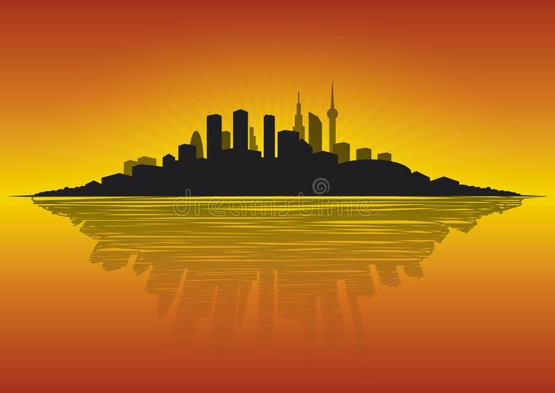 Paisaje urbano en el amanecer imagen de archivo