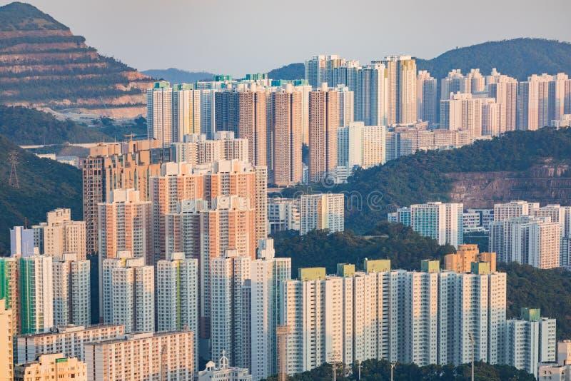 Paisaje urbano en el centro, Kowloon, Hong Kong foto de archivo libre de regalías