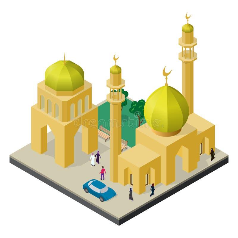Paisaje urbano en la visión isométrica Mezquita con el alminar, el edificio urbano, los árboles, los bancos, el coche y la gente ilustración del vector