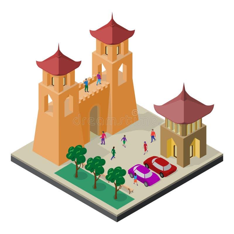 Paisaje urbano en la visi?n isom?trica Pared, bancos, árboles, aparcamiento, coches y gente de la fortaleza stock de ilustración