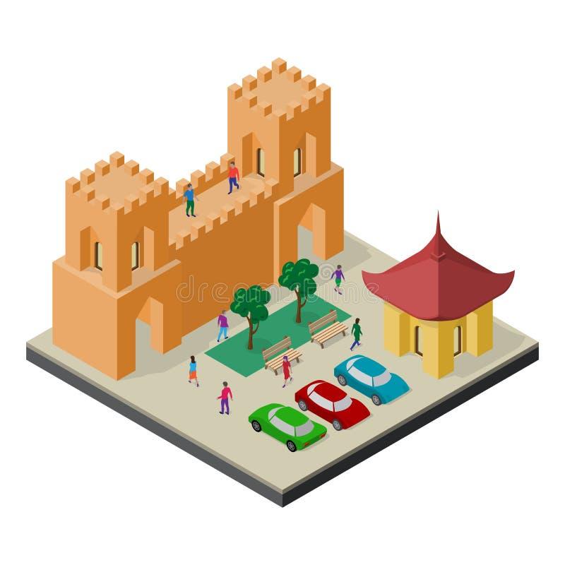 Paisaje urbano en la visi?n isom?trica Pared, bancos, ?rboles, aparcamiento, coches y gente de la fortaleza libre illustration