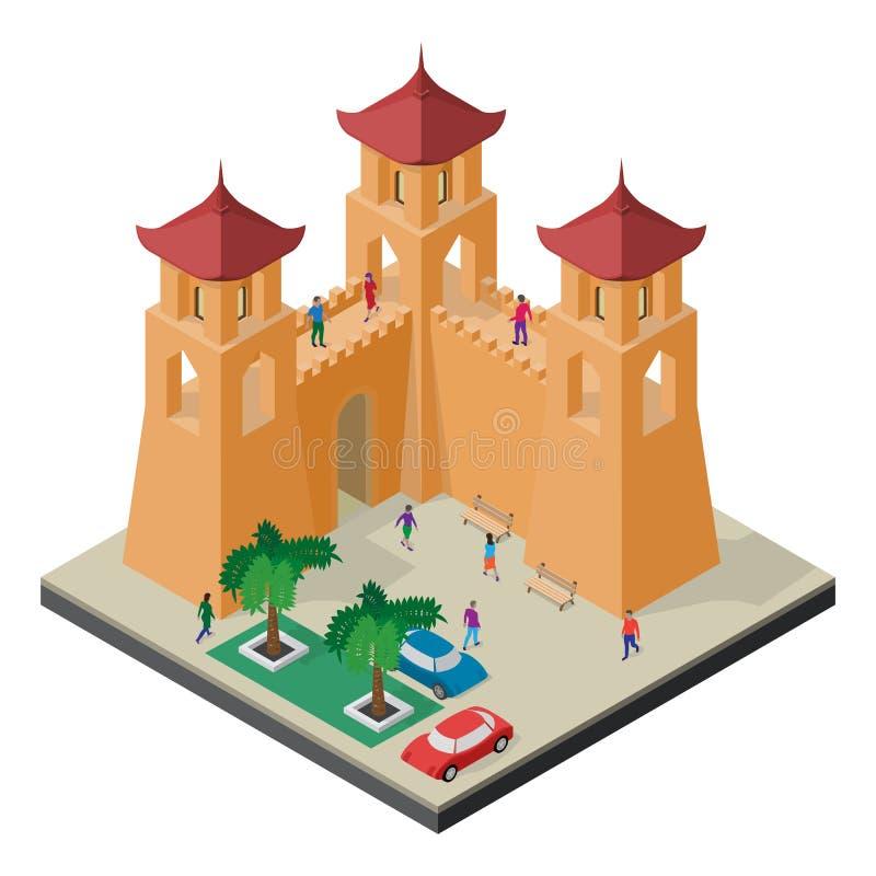 Paisaje urbano en la visi?n isom?trica Pared, torres, bancos, árboles, coches y gente de la fortaleza stock de ilustración