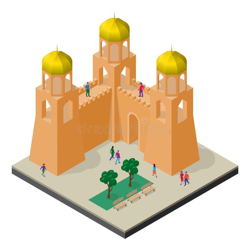 Paisaje urbano en la visi?n isom?trica Pared, torres, bancos, ?rboles y gente de la fortaleza stock de ilustración