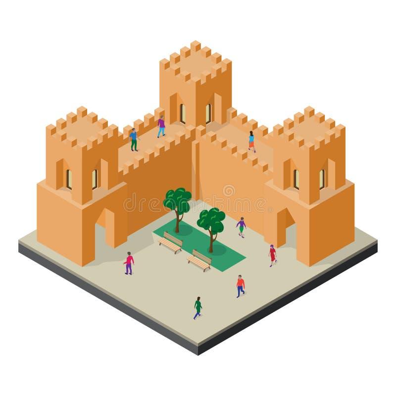Paisaje urbano en la visi?n isom?trica Pared, torres, bancos, ?rboles y gente de la fortaleza libre illustration