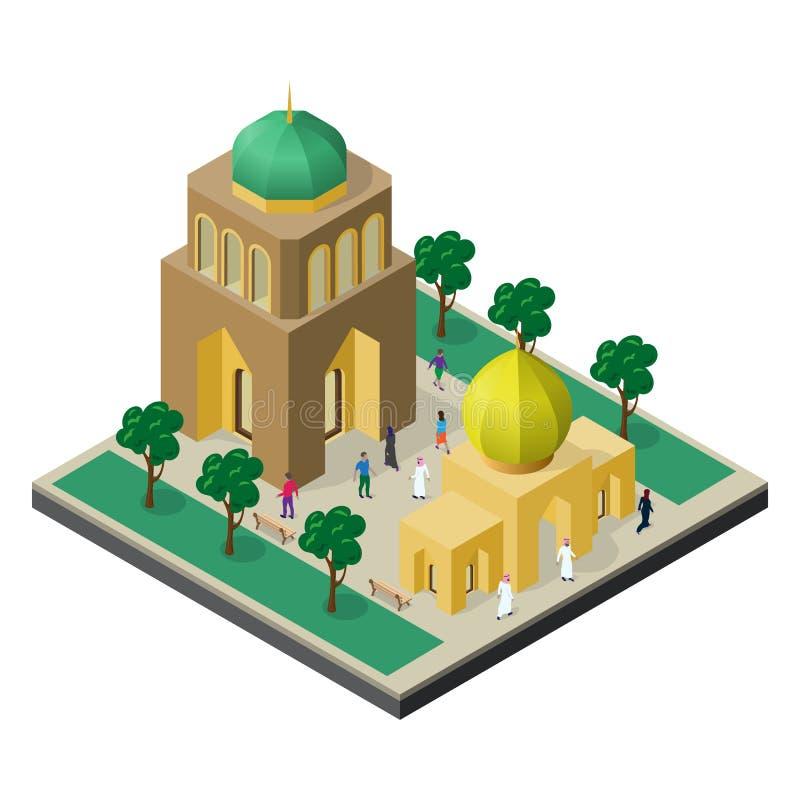 Paisaje urbano en la visi?n isom?trica Templo, edificio urbano, callej?n con los ?rboles, bancos y gente ilustración del vector