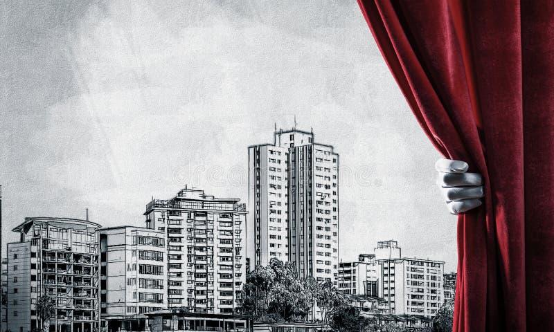 Paisaje urbano exhausto moderno detrás de la cortina y de la mano de la pañería que lo abren libre illustration