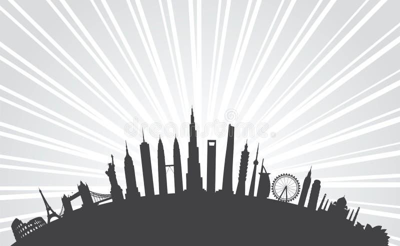 Paisaje urbano famoso de las señales stock de ilustración