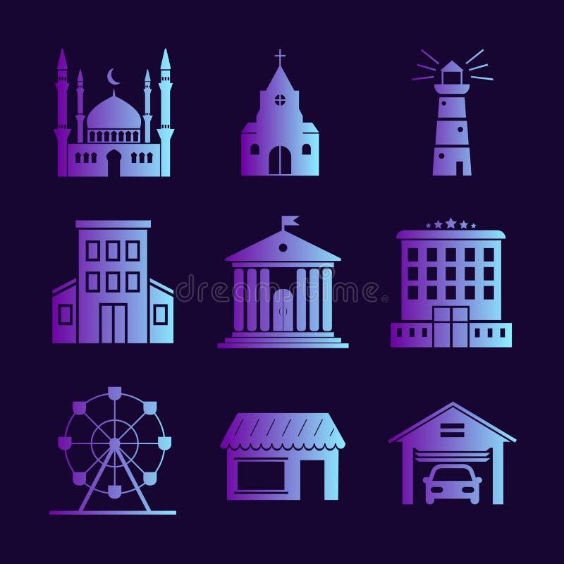 Paisaje urbano fijado en fondo oscuro stock de ilustración