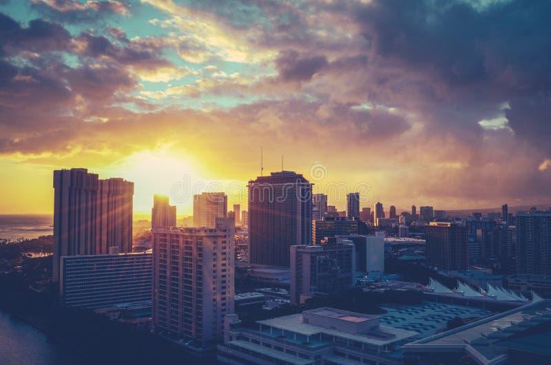 Paisaje urbano filtrado retro de Hawaii fotografía de archivo