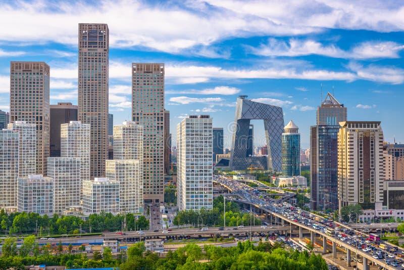 Paisaje urbano financiero del distrito de Pekín, China fotos de archivo