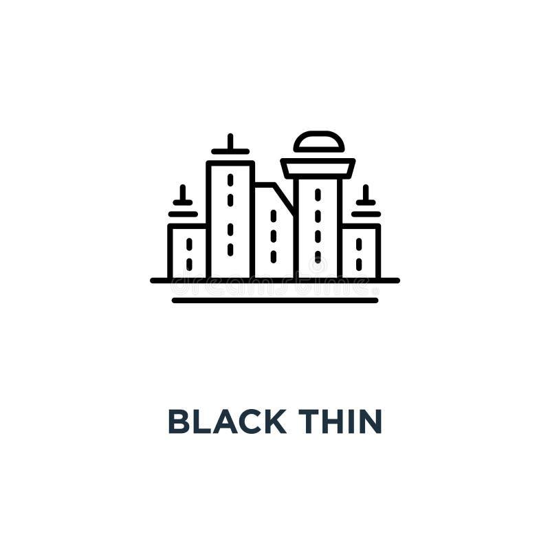 paisaje urbano fino negro con el icono de los rascacielos, símbolo del scape de la ciudad como Singapur o estilo simple del movim stock de ilustración