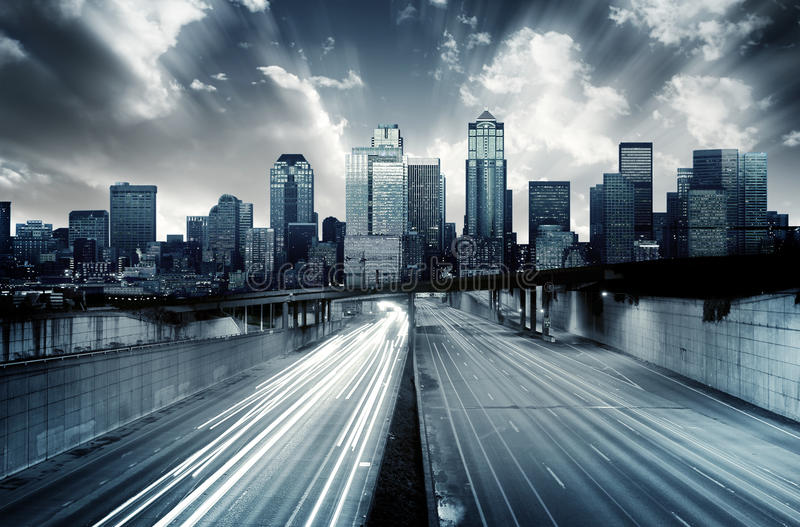 Paisaje urbano futurista fotos de archivo libres de regalías