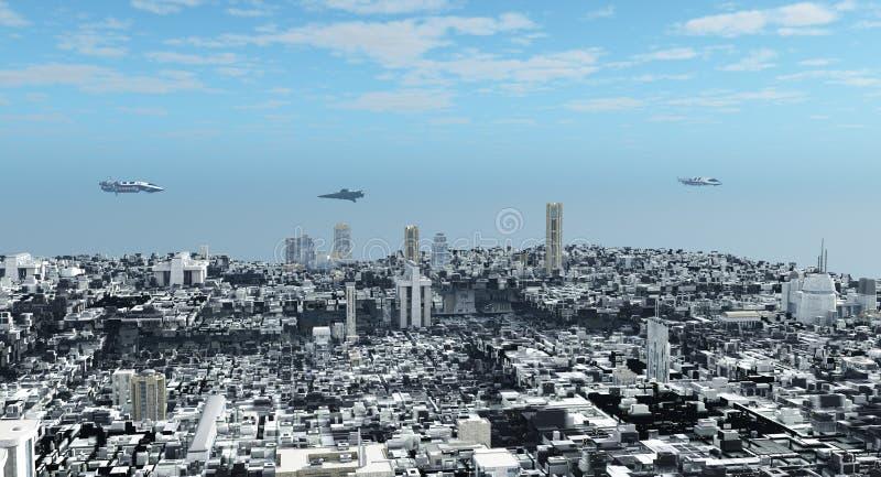 Paisaje urbano futurista de la ciencia ficción ilustración del vector