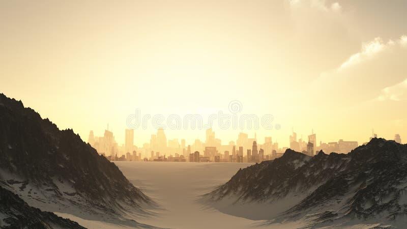Paisaje urbano futurista en puesta del sol del invierno ilustración del vector