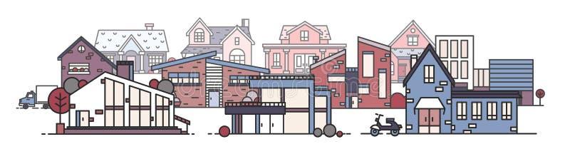 Paisaje urbano hermoso con los diversos edificios de la ciudad construidos en estilo arquitectónico moderno Paisaje urbano con di libre illustration