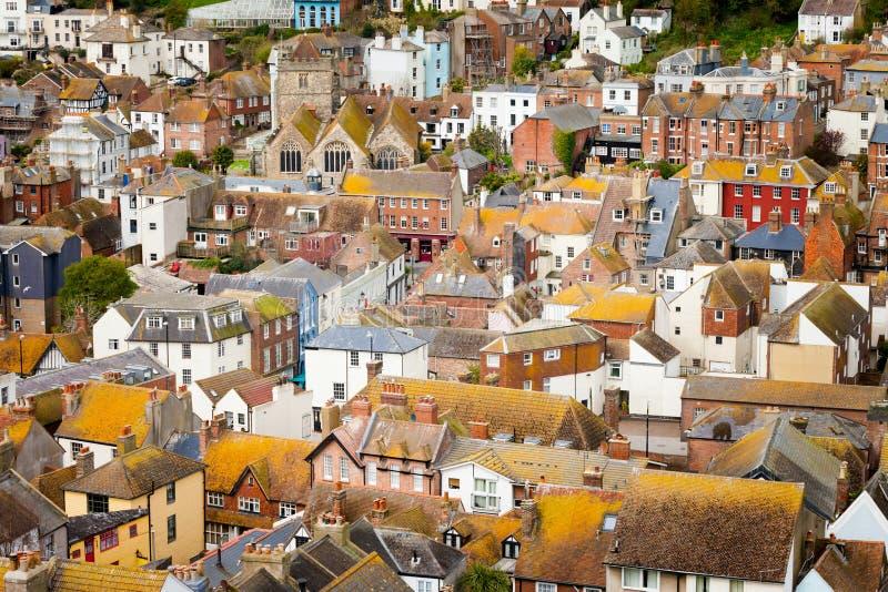 Paisaje urbano hermoso de Hastings en Inglaterra foto de archivo libre de regalías