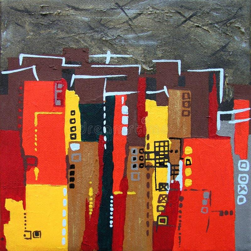 Paisaje urbano/horizonte pintados de Night ilustración del vector
