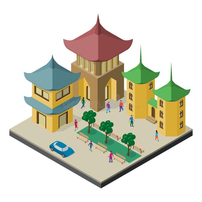 Paisaje urbano isométrico del Este de Asia Pagoda, edificios urbanos, árboles, bancos, coche y gente stock de ilustración