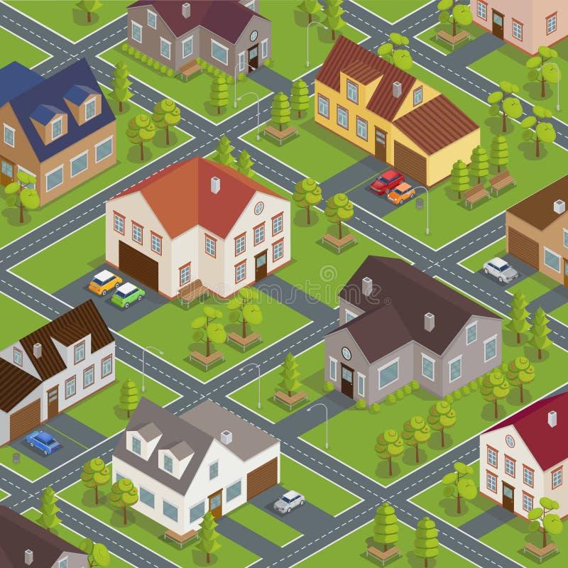 Paisaje urbano isométrico Edificios isométricos Casas isométricas ilustración del vector