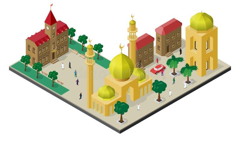Paisaje urbano isométrico en estilo oriental Mezquita con los alminares, los edificios urbanos, los árboles, los bancos, el coche stock de ilustración