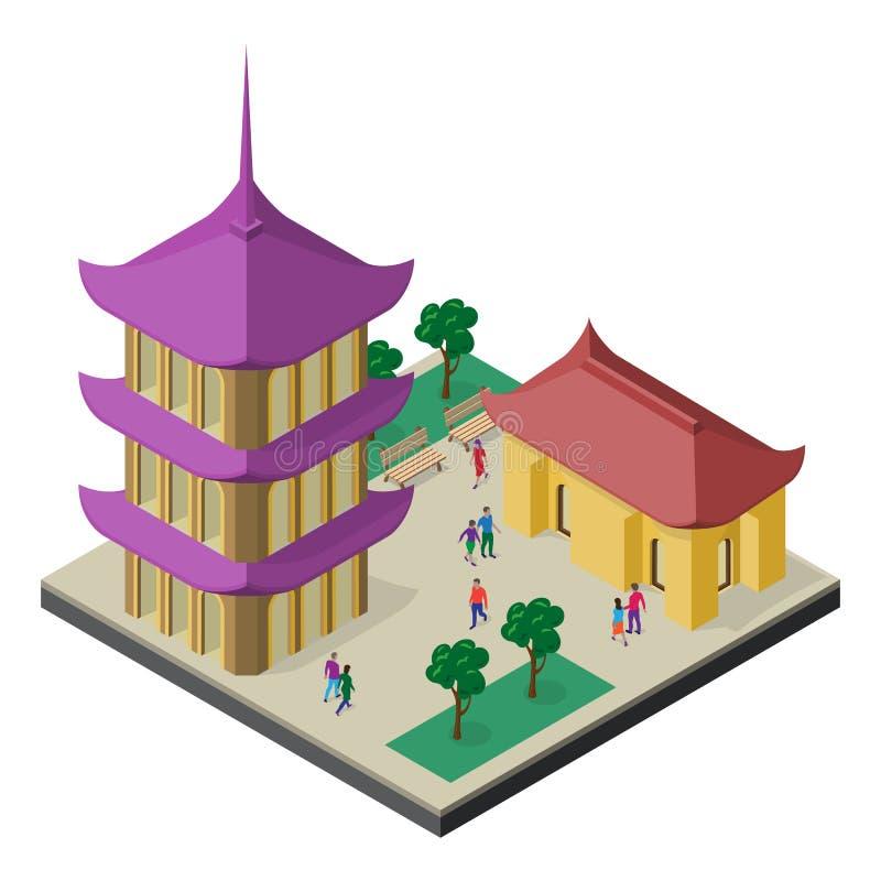 Paisaje urbano isom?trico del Este de Asia Pagoda, edificio, ?rboles, bancos y gente ilustración del vector