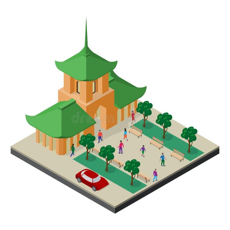 Paisaje urbano isom?trico del Este de Asia Templo budista, ?rboles, bancos, coche y gente ilustración del vector
